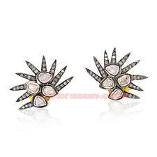 925 Victorian Design Polki Studs Earrings 1.42ct Antique Rose Cut Diamond Silver