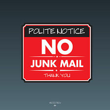 SKU087 - No Junk Mail Front Door Sign Sticker - 140mm x 118mm