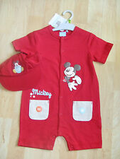 DISNEY BABY BARBOTEUSE ET CASQUETTE ROUGE MICKEY 23 MOIS NEUF