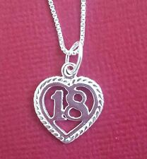 Sterling Silver 18 Necklace heart 925 number 18th Charm pendant and 18inch chain