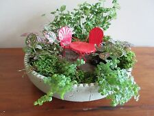 """Crimped Round Cache Pot/Bowl Sage for Planting  Miniature or Fairy Garden 11"""""""