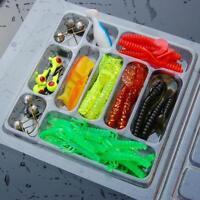 35Pcs Soft Worm Fishing Baits+10 Lead Jig Head Hooks Simulation Lure Bait Tackle
