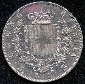 """1875 """"MBN"""" Italy 5 Lira Silver Coin (25 Grams .900 Silver)"""
