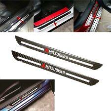 2x Mitsubishi Carbon Fiber Car Door Welcome Plate Sill Scuff Cover Decal Sticker