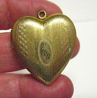 "ANTIQUE GOLD FILLED HEART LOCKET ""EVA"" 28 X 30 MM 5.1 GRAMS"