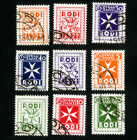 Rodi Stamps # J1-9 Sup Used Catalog Value $108.50