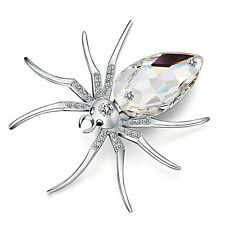 White Spider Silver Plated Fashion Brooches Jewelry Elegant Crystal Brooch Pin E