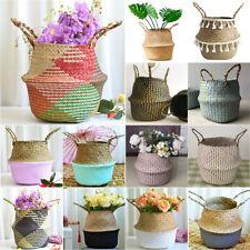 Seagrass Belly Woven Basket Storage Plants Flower Straw Pots Wicker Home Garden