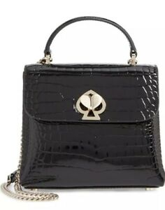 kate spade Romy Small Black/Gold  Crocodile-Embossed Patent Leather Satchel