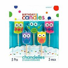 Party Time Molded Owls Birthday Toothpick Candles Pack of 5 Mul... Free Shipping