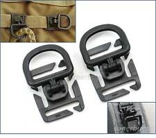 2x Black Tactical MOLLE 25mm D-Ring Swivel Clip Buckle Bag Webbing Strap 360 Deg