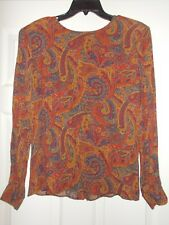 VINTAGE LIZ CLAIBORNE PAISLEY LONG SLEEVE BUTTON BLOUSE SIZE 8