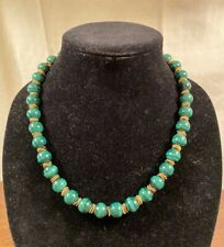 """ESTATE MALACHITE AND GOLD TONE NECKLACE 20"""" ROUND 1/4"""" BEADS"""