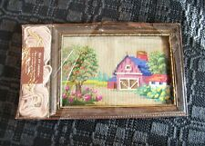 Vtg Bucilla #4444 Summer Needlepoint Picture Frame Kit Farm/Barn/Flowers/Apples
