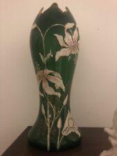 seltene alte Moser Vase Kristall-Glas Grün/ Weiß Malerei Kristall Glas ca. 30 cm