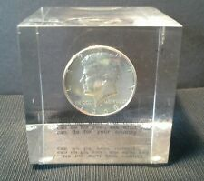1968 Kennedy Half Dollar Lucite/Acrylic Paper Weight With Quote