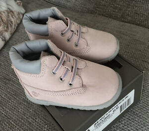 """BNIB Timberland Baby Girl's Pink 6"""" Crib Bootie/Shoes Size 2.5 9-12 Months."""