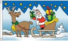 Santa Sleigh Christmas Flag 5ft x3ft (150cm x 90cm) Decoration