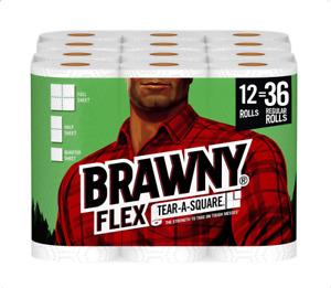 Brawny Flex Paper Towels, Tear-A-Square, 12 Triple Rolls = 36 Regular Rolls.