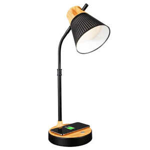 OttLite, LED Metal Table Lamp w Qi Wireless Charger + USB Port