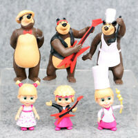 6 PCS Masha and The Bear Action Figures Set Party Toys Dolls Gift Cake Toppers
