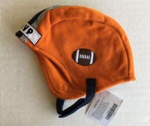 NWT Gymboree Tiny MVP 6-12 Months Orange Football Helmet Hat with Chin Strap