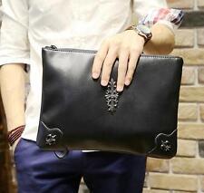 Mens punk rock Leather bag messenger handbag black purse wallet Clutch Bag
