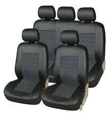 High Quality Premium Luxury Quilted Leather Black Car 4x4 Seat Cover Full Set