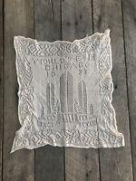 Antique Handkerchief 1933 World's Fair Chicago Crocheted Lace Vintage Wedding