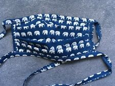 Handmade Blue Elephants washable reusable cotton face mask with Ties.