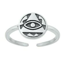 Silver 925 Jewelry Face Height 9 mm Eye of Providence Toe Ring Solid Sterling