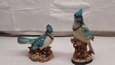 Antique Vintage Ceramic Figurines  Blue Jays Birds lot of 2