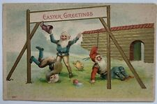 Vintage Postcard Easter Greetings gnomes playing eggs chicks embossed gilt comic