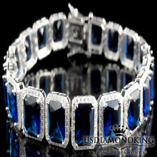 Men's Ladies Real Sterling Silver Tarnish Free Simulated Blue Sapphire Bracelet