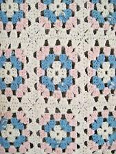 Vintage 1930's Granny Square Baby Blanket Afgan~hand crochet unisex pink & blue