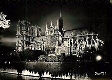 Paris Notre Dame Cathedral France night view RPPC Postcard