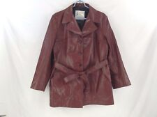 London Fog Red Leather Coat - Ladies 16 - Made in USA