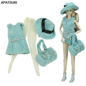 """Blue Clothes Set for 11.5"""" Doll Outfits 1/6 Coat Pantyhose Hat Bag Purse Toys"""