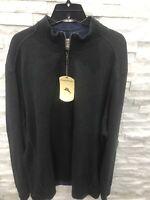 Tommy Bahama Flipsider Reversible 1/2 Zip Sweatshirt Men Cinder Heather Size XL