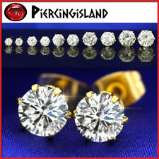 18K GOLD GF SILVER CT SIGNITY DIAMOND MENS LADY GIRL CRYSTAL ROUND STUD EARRINGS