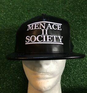 Supreme Menace To Society 5-Panel Snapback Hat Rare Leather Black