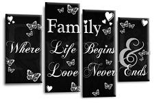 Family Art Quote Picture White Black Love Home Canvas Split 4 Panel