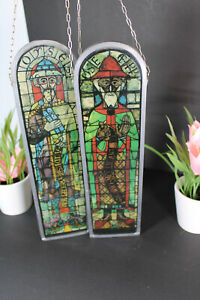 PAIR vintage plexiglass stained glass window saint figurine