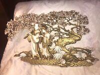 Vtg Burwood Gold WALL PLAQUE #498 Asian Couple Bonsai Tree HOLLYWOOD Regency