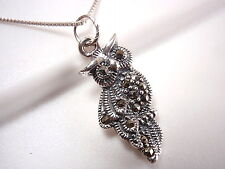 Owl Marcasite Pendant 925 Sterling Silver Corona Sun Jewelry wise night eyes