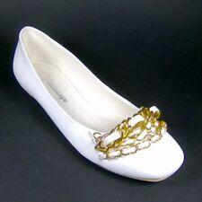 KALEIDOSCOPE Ladies White Leather Flat Slip on Shoes Size 5 6 8