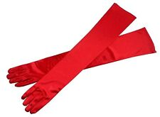 "Satin RED EXTRA LONG FINGERED PARTY PROM BRIDAL WEDDING OPERA GLOVE,21.5""L"