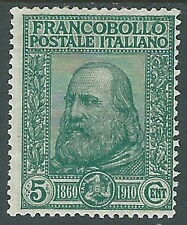 1910 REGNO GARIBALDI 5+5 CENT VERDE MH * - I1-3
