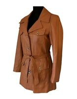 Penny Lane Coat Vintage 60s Leather Jacket Belted Leather Coat Women's Small