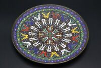 """Vintage Enamel on Brass or Bronze Metal Decorated Wall Plate 8"""""""
